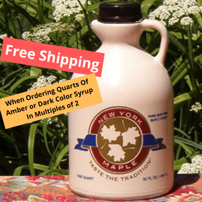Purchase 2 quarts of either Amber or Dark color maple syrup get free shipping